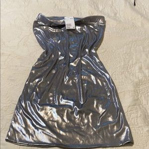 H&M metallic silver dress